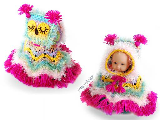 PDF Crochet Pattern for making a Colorful Owl Poncho with Hood for 18 inch Doll.