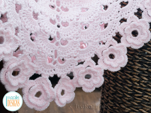 Lace Floral Baby Blanket Crochet Pattern by IraRott