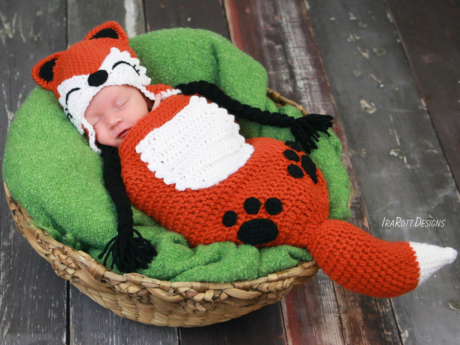 PDF Crochet Pattern for making a cute Baby Fox Hat with a matching Cocoon