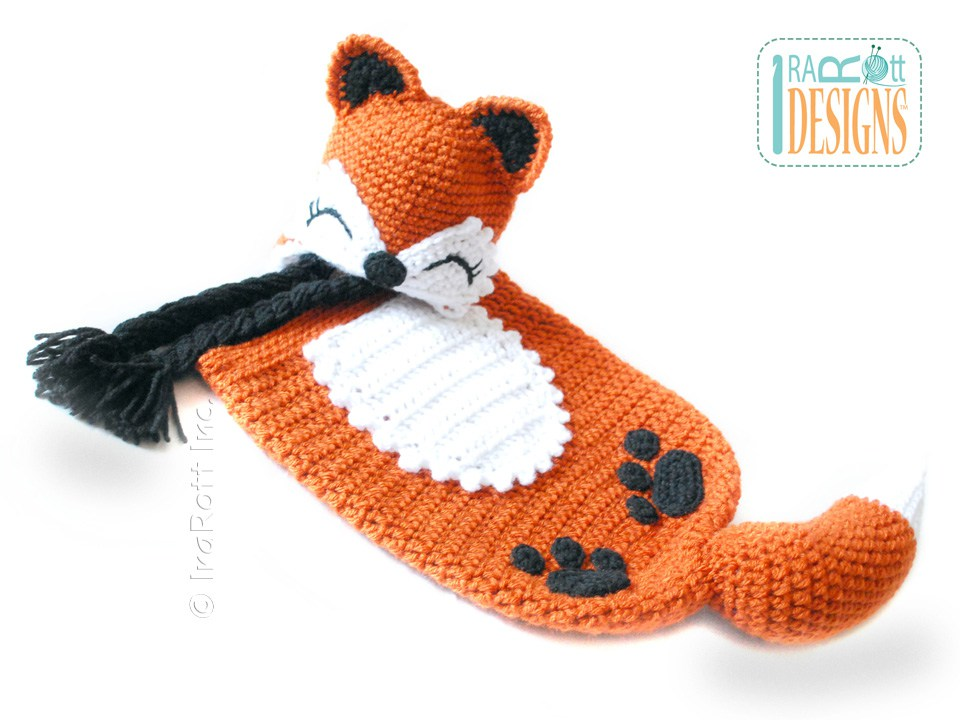 Crochet Pattern For Baby Sneakers : Roxy the Baby Red Fox Hat and Sleeping Bag Set PDF Crochet ...