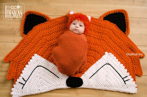 Fox Animal Rug or Nursery Mat Crochet Pattern for Home Decor by Irarott