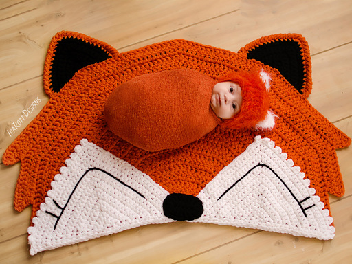 Crochet Pattern PDF for making a cute Fox Rug or  Nursery Mat for Home Decor