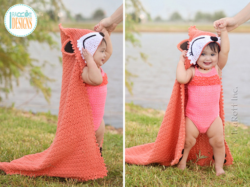Fox Animal Beach Towel or Hooded Blanket Crochet Pattern for Kids and Babies by IraRott