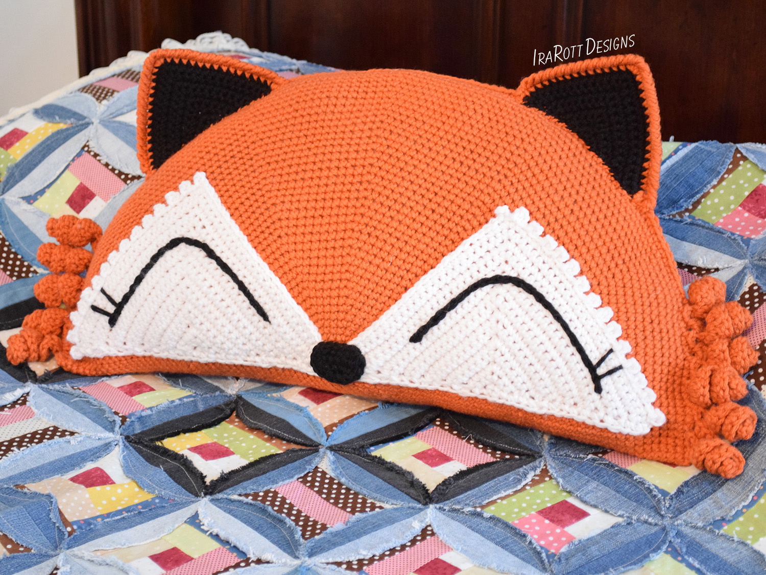 Crochet pattern PDF for making an adorable fox animal pillow or cushion by IraRott