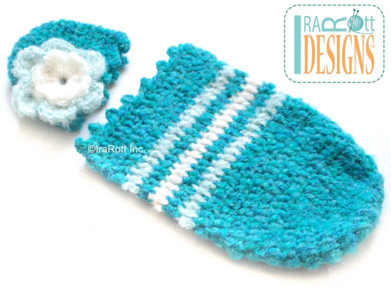 Crochet Patterns For Baby Cocoons Free : Fleecy Cloud Cocoon and Beanie Baby Set - IraRott Inc.