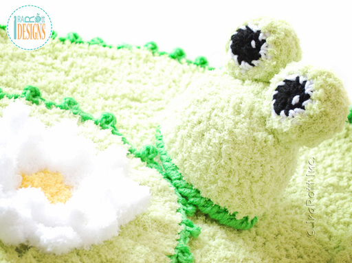Crochet pattern PDF for making an adorable Easter frog hat with lily pad rug and bum cover photo prop.