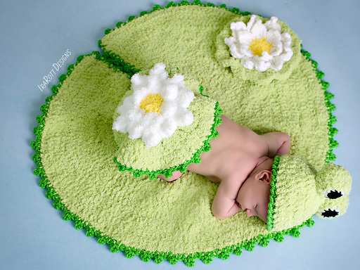 Crochet pattern PDF for making an adorable Easter frog hat with lily pad rug and bum cover photo prop