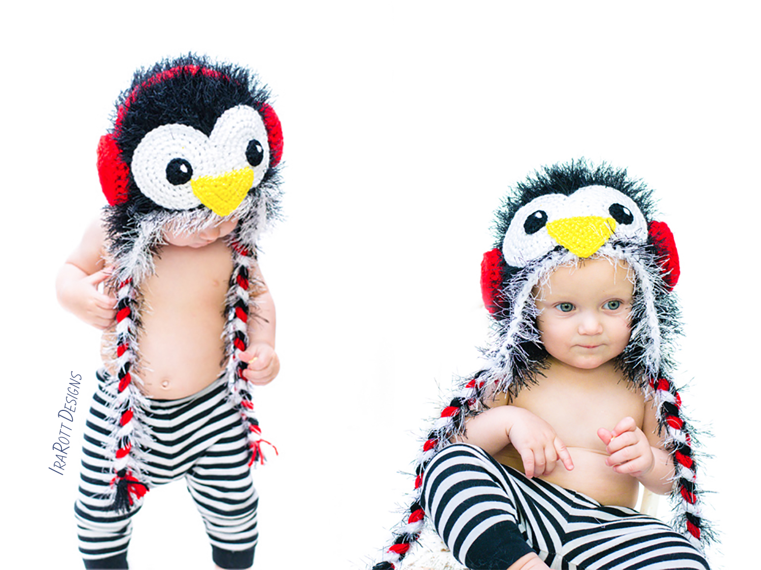 Crochet pattern PDF for making an adorable penguin animal hat with earmuffs