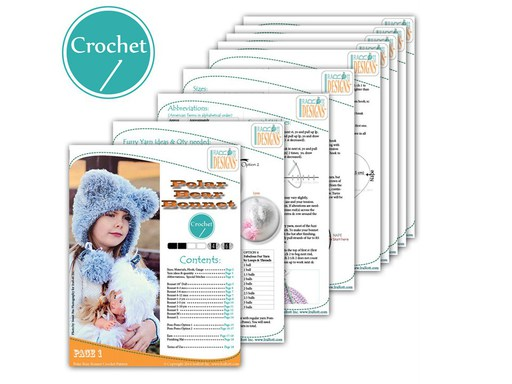 PDF Crochet Pattern for making a Furry Polar Bear Hat with Pom Poms.