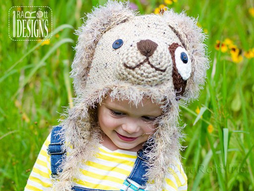 Puppy Dog Animal Hat Crochet Pattern for babies kids and adults by IraRott