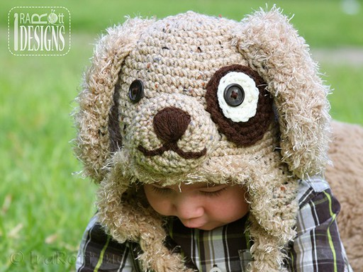 Puppy Dog Animal Hat Crochet Pattern for boys and girls of all ages by IraRott