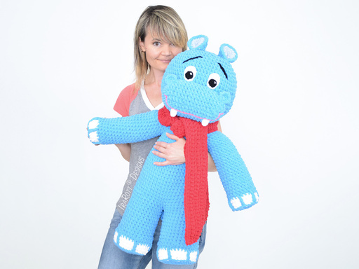 Happy Hippo The Hippopotamus Big Amigurumi PDF Crochet Pattern With Instant Download by IraRott