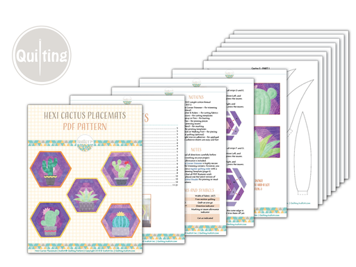 Hexi Cactus Placemats PDF Quilting Pattern With Instant Download By IraRott
