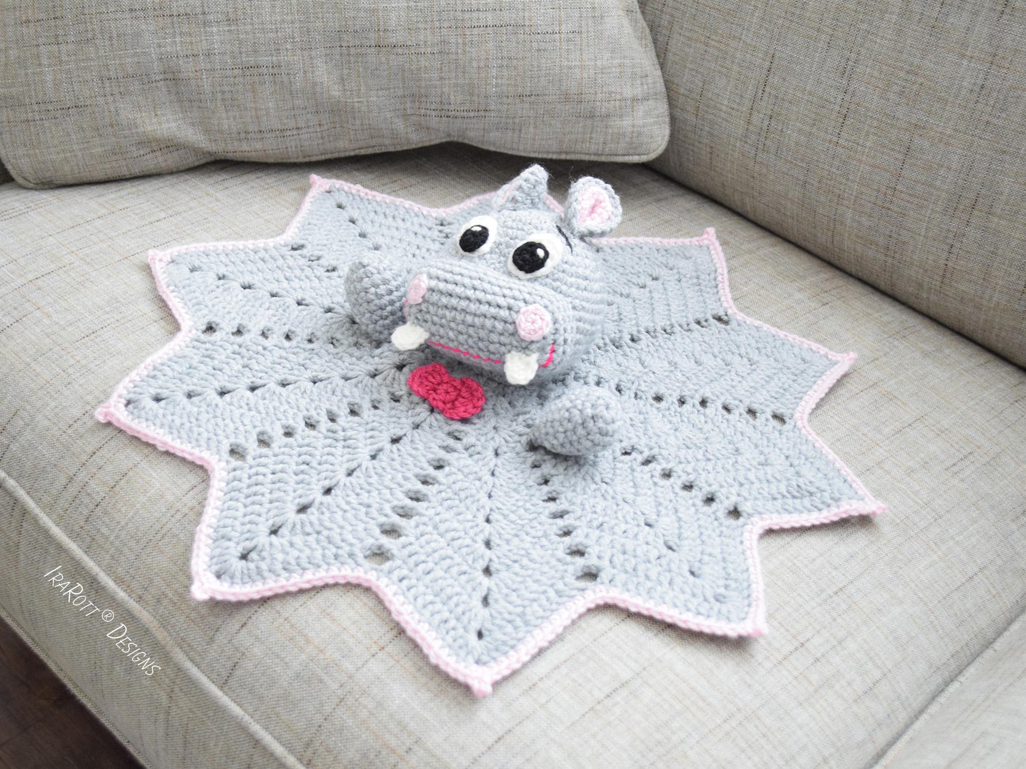 Free Crochet Lamb Cuddle Blanket Pattern : Happy Hippo the Hippopotamus Snuggle Blankey Security ...