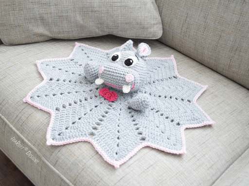 PDF Crochet Pattern for making a cute Happy Hippo the Hippopotamus Snuggle Blankey Lovey Security Blanket