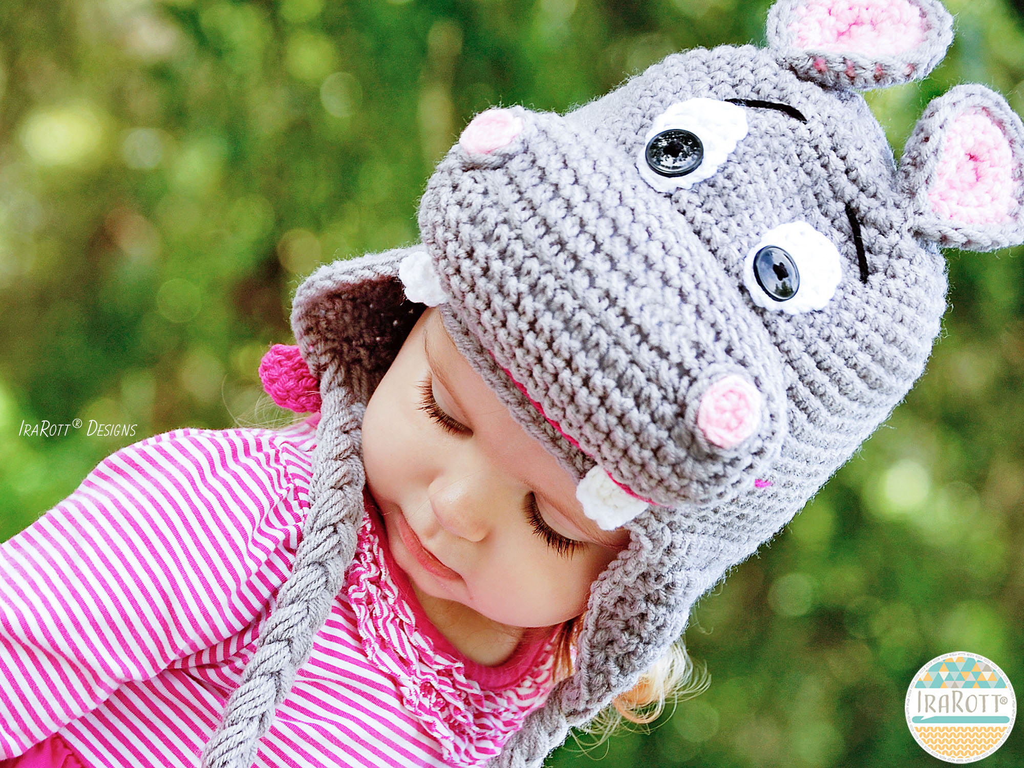 Happy Hippo the Hippopotamus Hat PDF Crochet Pattern - IraRott Inc.