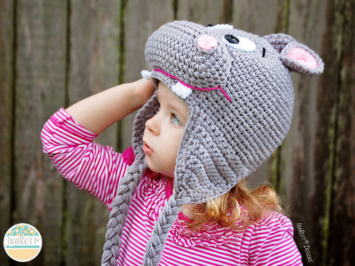 Happy Hippo the Hippopotamus Hat PDF Crochet Pattern