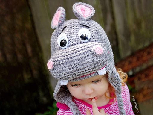 Hippo Animal Hat Crochet Pattern for Boys and Girls of all ages