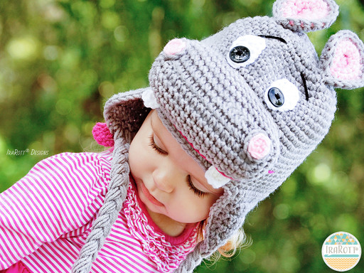 Hippo Animal Hat Crochet Pattern for Babies Kids and Adults