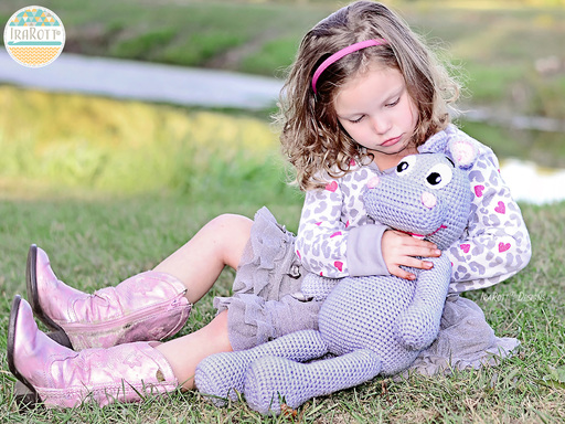 PDF Crochet Pattern for making a cute Happy Hippo the Hippopotamus Amigurumi Stuffed Toy