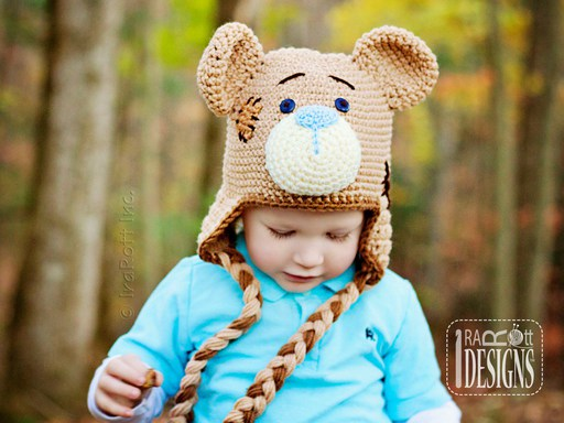 Teddy Bear Animal Hat Crochet Pattern for Babies Kids and Adults by IraRott