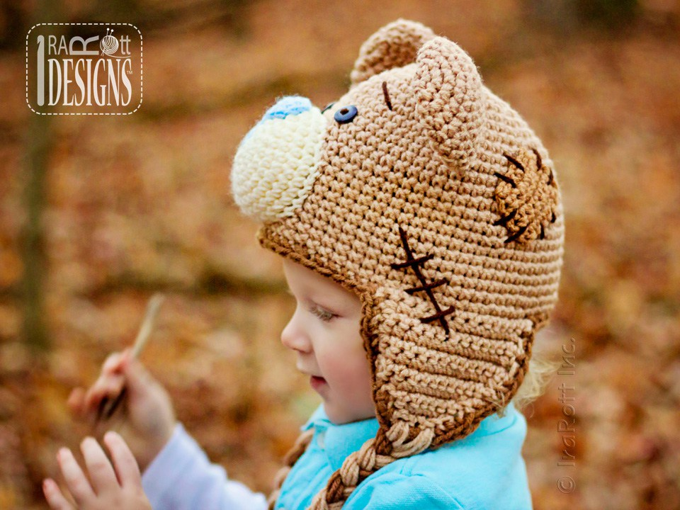 Teddy Bear Animal Hat Crochet Pattern for Babies Kids and Adults by IraRott c6c3946b226