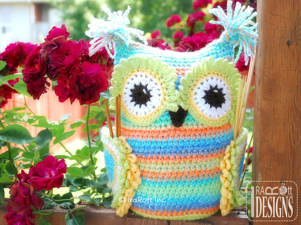 Free Crochet Patterns For Organizers : Hooty the Owl Buddy Hooks and Needles Organizer PDF ...