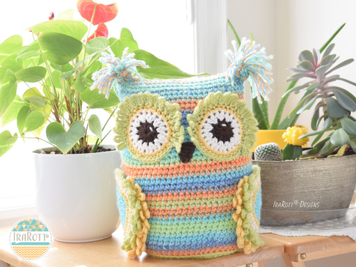 PDF Crochet Pattern for making a cute Owl Hooks and Needles Organizer Amigurumi Stuffie