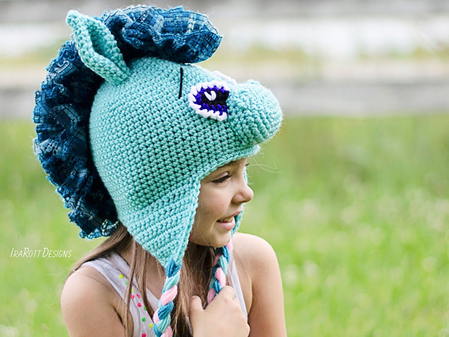 Crochet Pattern PDF for making a Circus Pony or Horse or Unicorn Animal Hat with Ruffled Mane