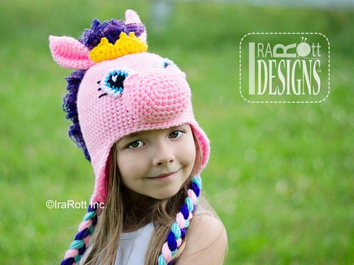 Horse Pony or Unicorn Animal Hat Crochet Pattern for babies kids and adults by IraRott