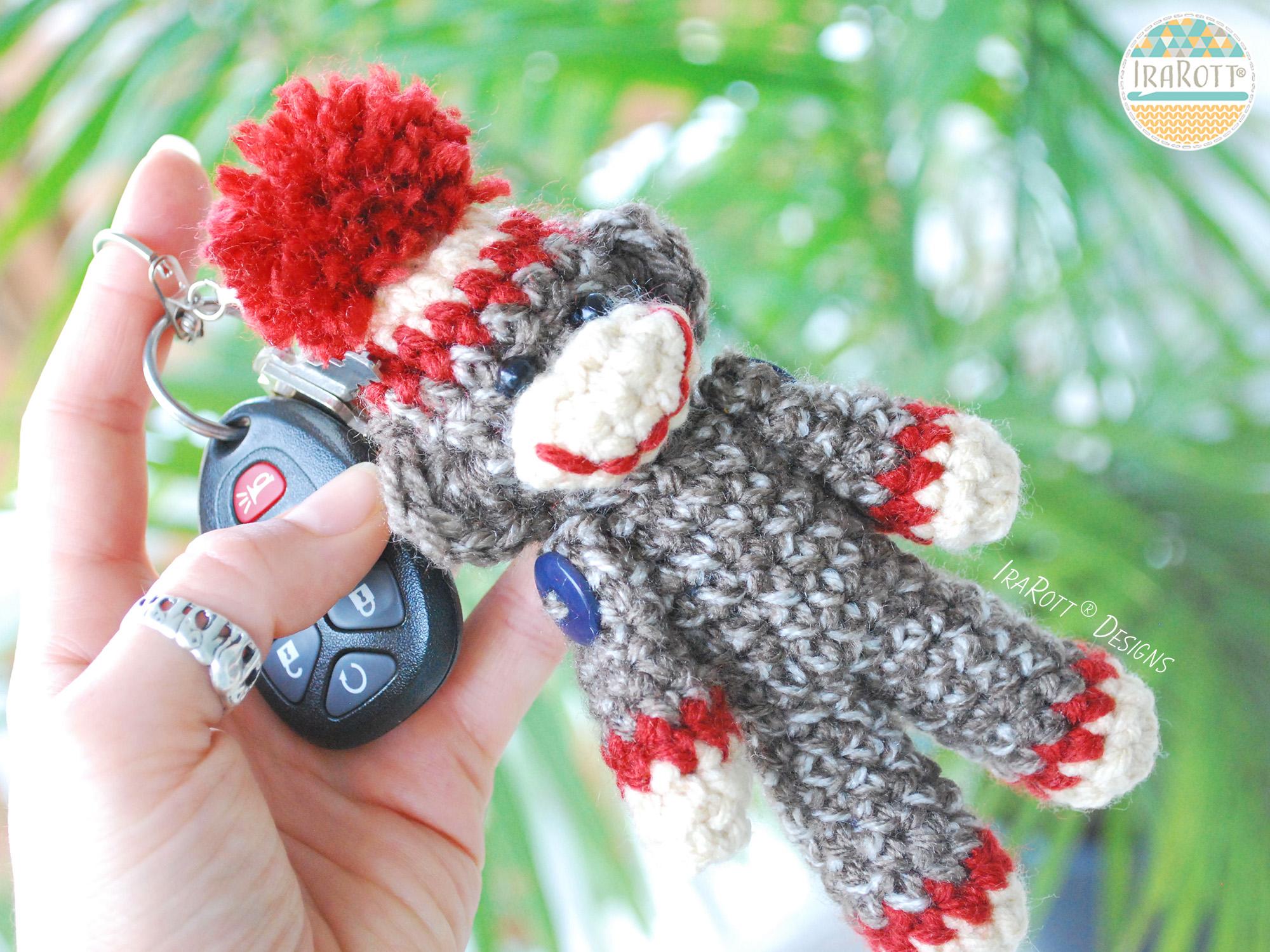 Amigurumi Crochet Sock Monkey : Ima lil Monkey Key Chain PDF Crochet Pattern - IraRott Inc.