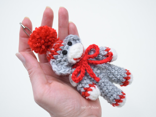 PDF Crochet Pattern for making a Small Sock Monkey Amigurumi Key Chain.