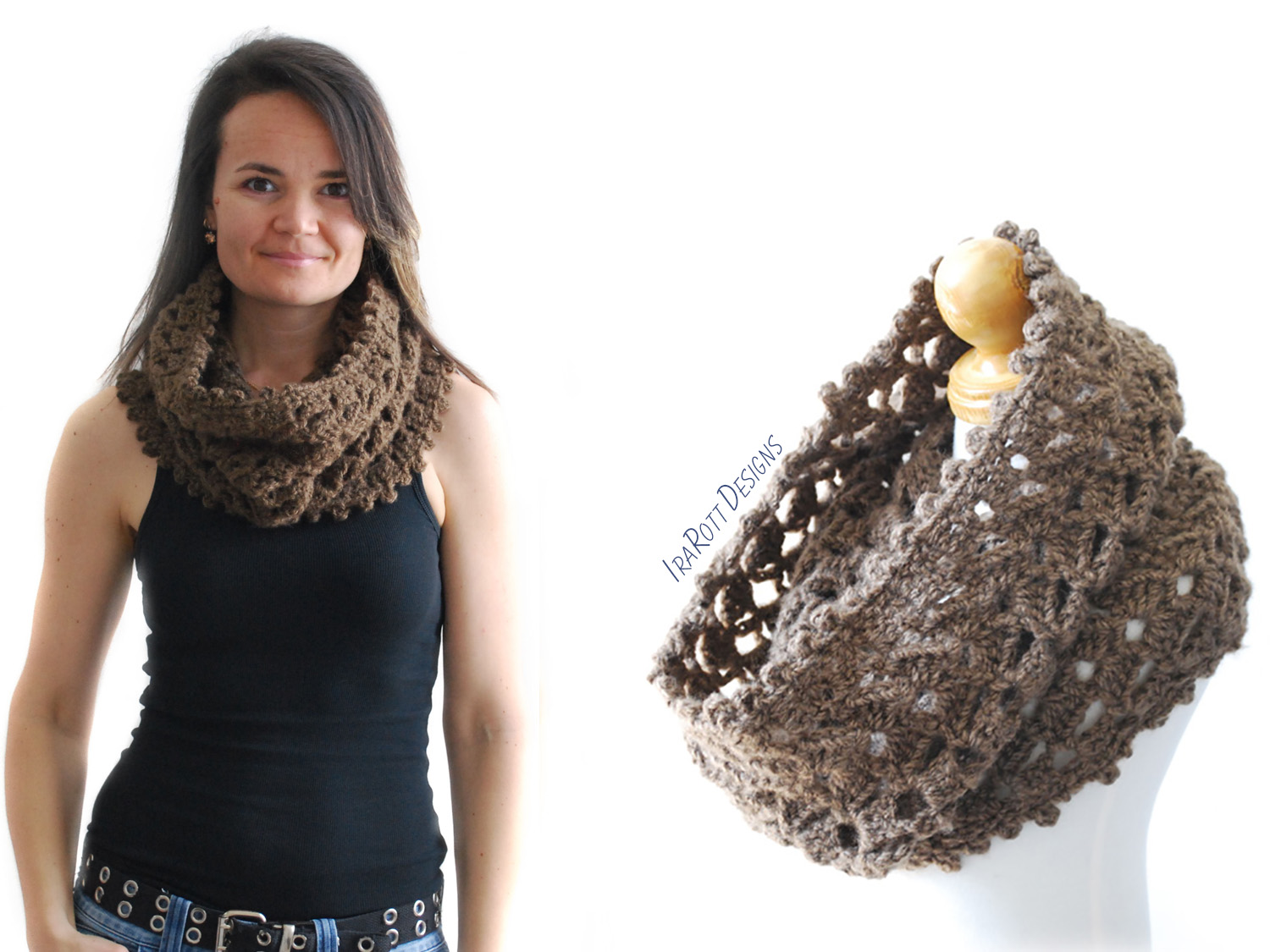 Lace Infinity Scarf Chunky Cowl Crochet Pattern by IraRott