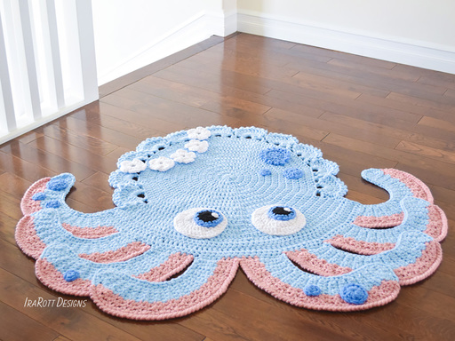 Crochet pattern PDF by IraRott for making an adorable octopus rug or reading mat