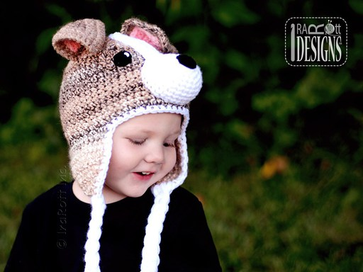 Jack Russell Terrier Puppy Dog Animal Hat Crochet Pattern for boys and girls of all ages by Irarott
