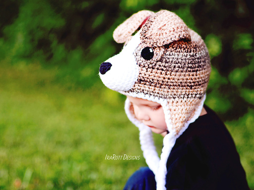 PDF Crochet Pattern for making a cute Jack Russell Terrier Puppy Dog Hat for all sizes.