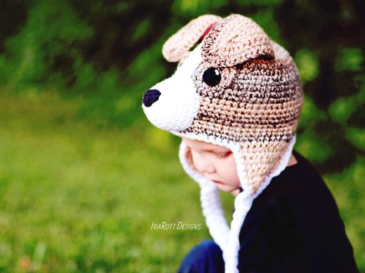 Crochet Pattern Jack Russell Dog : Bobby the Beagle Hat PDF Crochet Pattern - IraRott Inc.