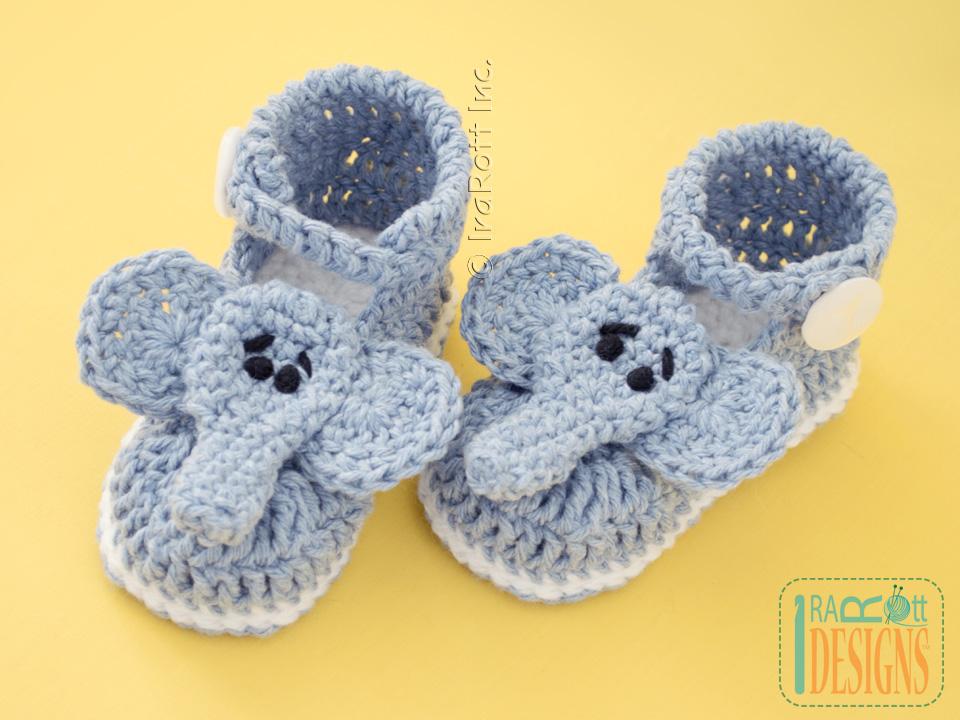Crochet Animal Baby Booties Pattern : Jeffery the Elephant Double Sole Baby Booties Crochet ...