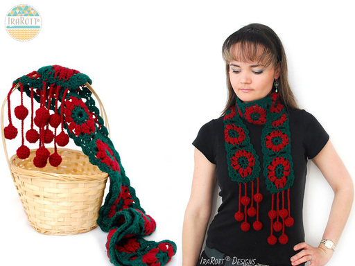 Free Crochet Pattern PDF for making a Jingle Bells Christmas Festive Holiday Scarf using Granny Square Motifs by IraRott