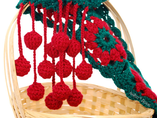 Free PDF Crochet Pattern for making a Jingle Bells Christmas Festive Holiday Scarf using Granny Square Motifs