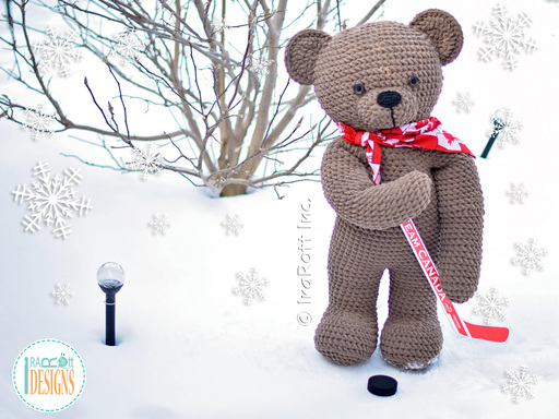 Crochet PDF pattern by IraRott for making an adorable giant teddy bear using Bernat Blanket yarn