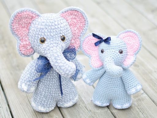 Josefina and Jeffery Chubby Little Elephants Amigurumi PDF Crochet Pattern With Instant Download by IraRott