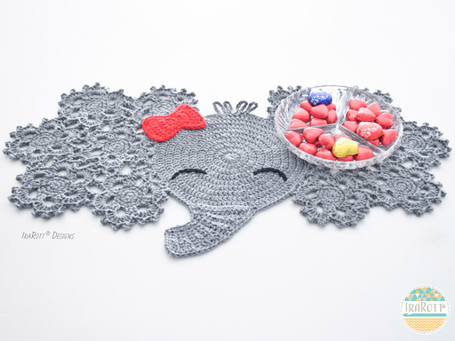 Josefina and Jeffery Elephant Placemat PDF Crochet Pattern