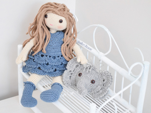 Josefina Doll With Jeffery Elephant Pillow Amigurumi PDF Crochet Pattern With Instant Download by IraRott