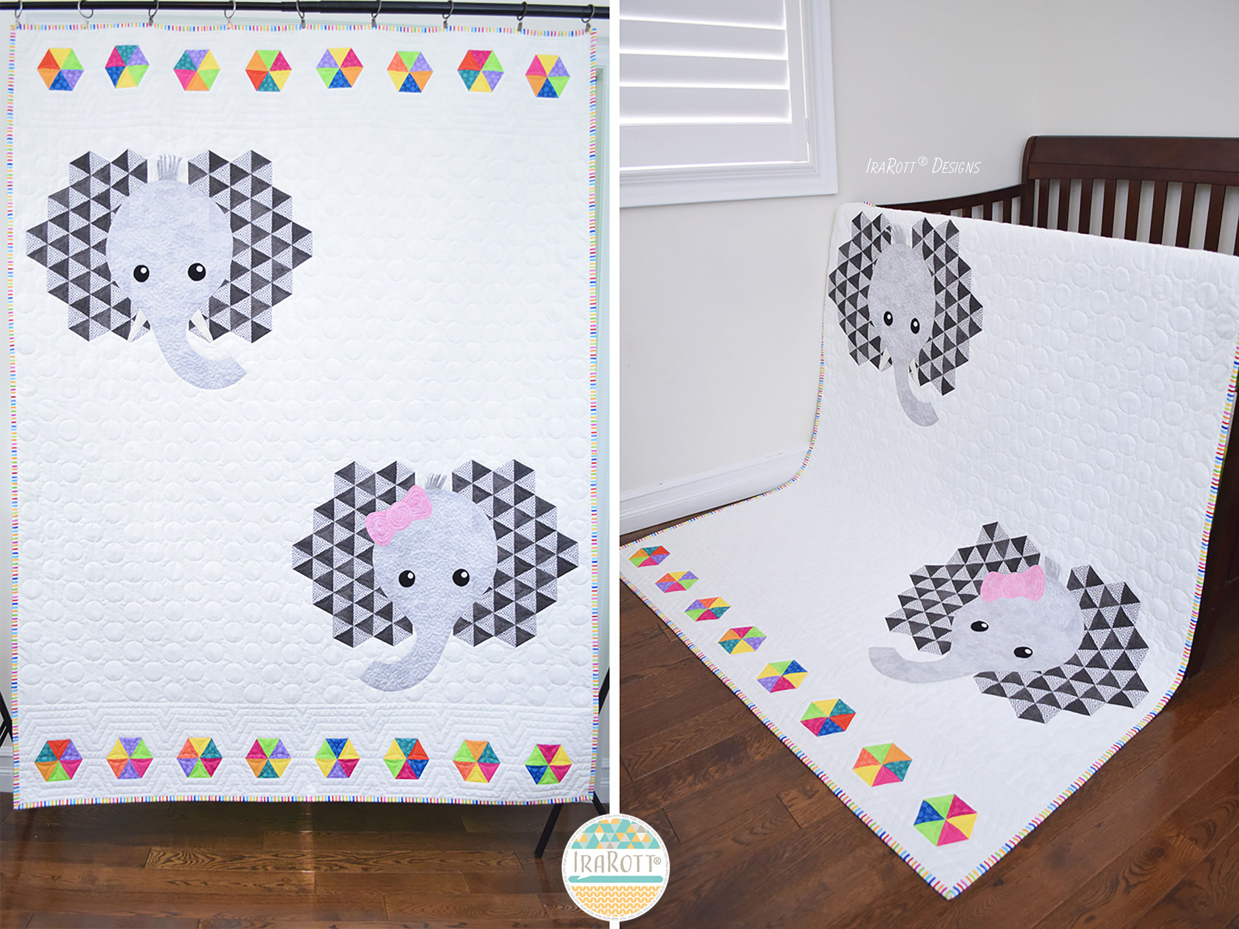 QUILTING PATTERN Josefina and Jeffery Elephant PDF Quilt Pattern with Instant Download