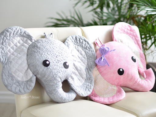 Josefina and Jeffery Elephant Pillow PDF Quilting Pattern By IraRott