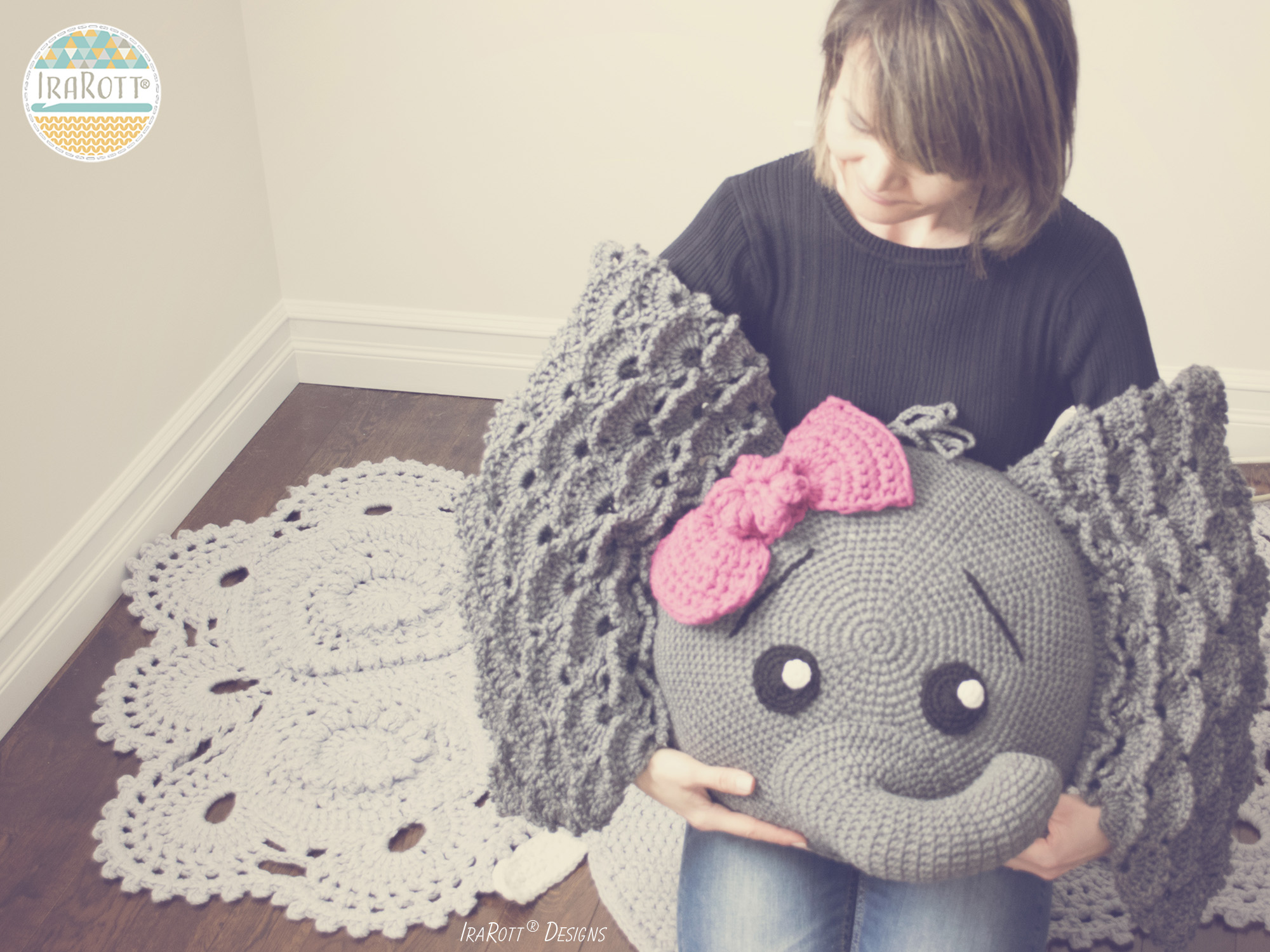 Josefina And Jeffery Elephant Pillow Pdf Crochet Pattern Irarott Inc