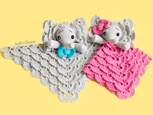 Josefina and Jeffery Elephant Security Blanket PDF Crochet Pattern With Instant Download by IraRott