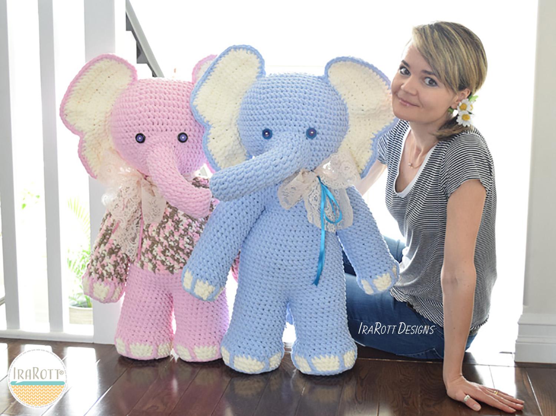Large Amigurumi Crochet Patterns : Josefina and Jeffery Big Amigurumi Elephants PDF Crochet ...