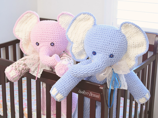 Crochet PDF pattern by IraRott for making a big elephant amigurumi stuffed toy using Bernat Blanket yarn